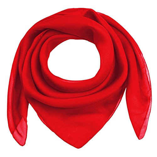 Classic 50s 60s Plain Solid Chiffon Silk Feeling Square Scarf, 68cm x 68cm (27 x 27 inches)