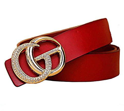 Western lie fallow lady leather belt fashion gold buckle belts women belt