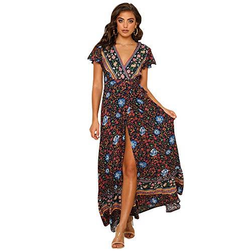Starlifey Maxi Kleid Damen Casual Sommerkleid Kurzarm Lange Kleid Lose Strandkleider - Maxi-kleid