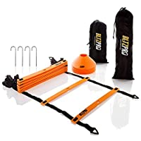 Bltzpro Agility Speed Ladder 11 flat rungs Bundle with 10 Sports Cones,Bonus 2 Carrying Bags 4 Metal pegs and Agility Drills Ebook,A Multi sport training tool.