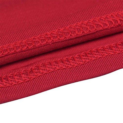 CYBERRY.M Femme Fille Sans Manches Lettre Imprimé Débardeur T-shirt Blouse Chemise Rouge