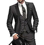 O.D.W Herren Anzug 3-Teilig Anzüge Männer Slim Fit Hochzeitsanzüge für Herren Männeranzug Business Anzug (Schwarz,48)