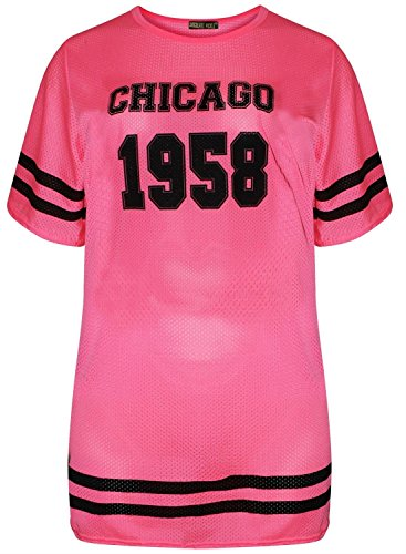 Chocolate Pickle ® Damen Air Tech Uni-Baseball-Druck Baggy T-Shirts 36-54 1958 Chicago Neon Pink