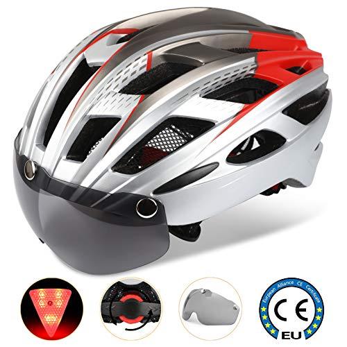 A-Best Fahrradhelm,CE-Zertifikat,Specialized Fahrradhelm mit Abnehmbarer Magnetischer Visier-Schutzbrille Super Light Integral Fahrradhelm Erwachsenen Fahrradhelm mit Abnehmbarem Schild Visier