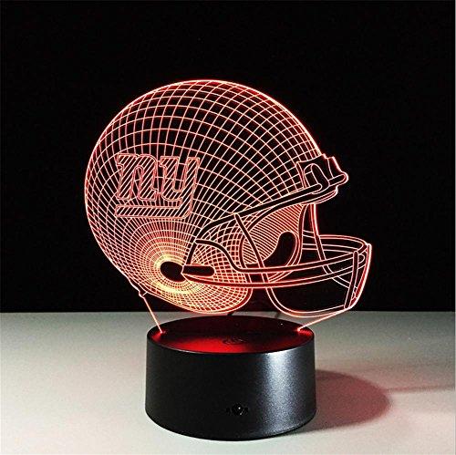 Xh&Yh Fußball New York Giants 3D Lichter Bunte Fernbedienung Touch LED Geschenk Lampe, remote