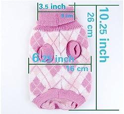 WAWO Knit Turtleneck Dog Sweater Clothing Argyle Patterns Pink / Starwberry Pink / Bowknot Pink from WAWO