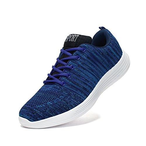 Voovix Hombre Zapatos para Correr Aire Libre y Deporte Shoes Sneakers Transpirables(Azul,EU42)