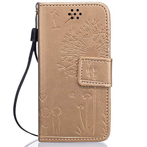 iPhone SE Hülle,iPhone 5S Hülle,iPhone 5 Hülle,iPhone 5S Leder Case Cover,EMAXELERS iphone SE Hülle Leder,iPhone 5S Hülle Flip Case,Romantic Löwenzahn -Liebe Muster PU Leder Flip Wallet Case Cover Hül E Dandelion Lover 4