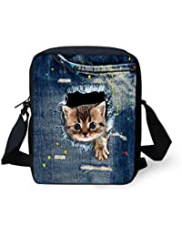 Ledback Fashion Messenger Bag For Girls Cute Cat Handbag Children Teens Purse Shoulder Bag