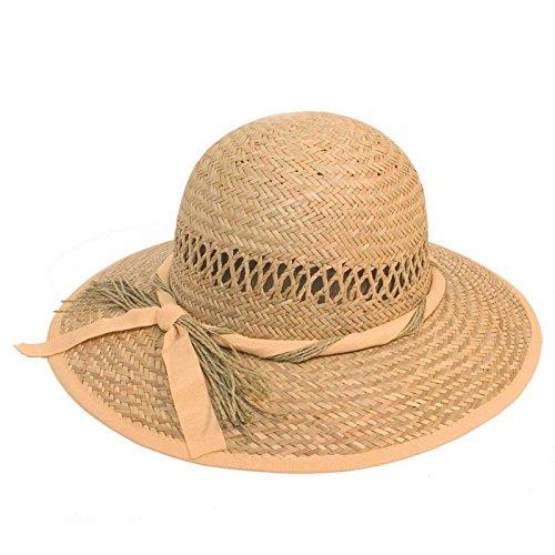 Hazy Bleu pour Femme Chapeau de Paille avec Bande de Ruban, Femme, Paille