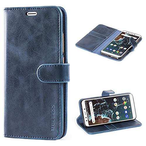 Mulbess Handyhülle für Xiaomi Mi A2 Hülle, Leder Flip Case Schutzhülle für Xiaomi Mi A2 Tasche, Dunkel Blau