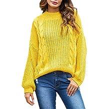 be9be67c539f35 Maglione Donna Invernale ASHOPManica Lunga Donna Cotone Pullover Oversize  Donna Giallo/Rosa S-XL