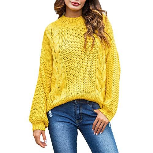 Damen Oberteile MYMYG Damen Plus Size Winter Langarm Sweatshirt Pullover Top Tunika Bluse Herbst und Winter Sweatshirt(Gelb,EU:38/CN-L) (Einfache Plus Size Kostüm Ideen)