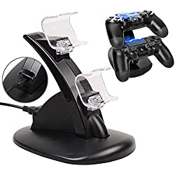 PS4 Schnell Ladestation, 2win2buy Playstation 4 Aufladestation für 2 Controller USB Dockingstation Ladegerät LED Anzeige Charger Dual Dock Station Halter in Schwarz