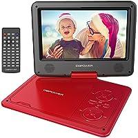 """DBPOWER 9.5"""" Lecteur DVD Portable, pile rechargeable de 5 heures, avec écran orientable, compatibilité carte SD et interface USB, lit directement les formats AVI, RMVB, MP3 et JPEG (Rouge, 9.5)"""