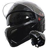 Klapphelm Integralhelm Helm Motorradhelm Rollerhelm RALLOX 339 schwarz mit Sonnenblende (S, M, L, XL, XXL) Größe S