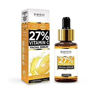 Sérum 27% Vitamina C; 30 ml, altamente dosificado; antiedad, para el rostro y la piel; con ácido hialurónico y pantenol