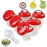YepLife Antiaderente Egg Cuociuova Boiler Cooker 6 Pezzi, Ottieni Uova Sode Senza la Shell con Separatore Tuorlo d' Uovo (FDA & BPA Free) (rosso)