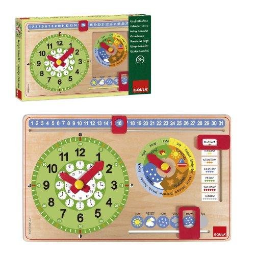 Goula Kalenderuhr-Holz, Lernuhr für Kinder
