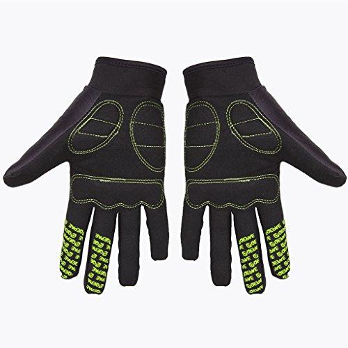 Lerway MTB Fahrrad Voll Finger warmen Radsport Fahrrad Handschuhe Herren Motorrad Vollfingerhandschuhe Herren Fahrradhandschuhe (Grün-M) - 3