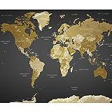 decomonkey Fototapete selbstklebend Weltkarte 294x210 cm XL Selbstklebende Tapeten Wand Fototapeten Tapete Wandtapete klebend Klebefolie Landkarte Kontinente schwarz gelb gold
