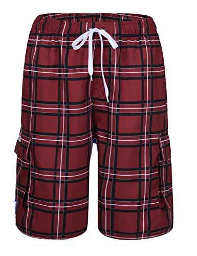 nonwe Herren Fashion Color Block Print Swim Shorts Beachwear Board Shorts mit Mesh Futter Rot