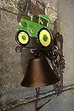 Antikas - Glocke für die Haustür mit Oldtimer Traktor, hübsche Trecker- Gartenglocke grün