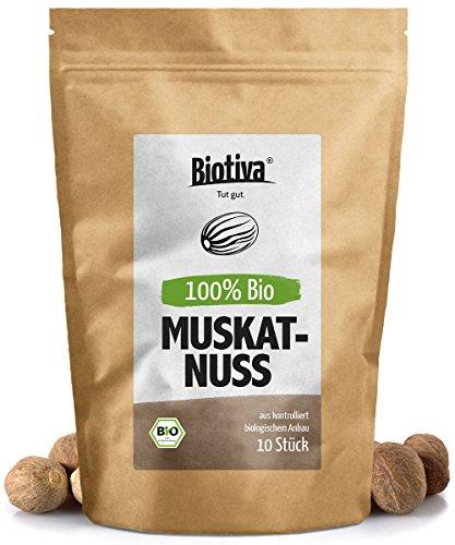Muskatnuss (10 - 12 Stück, 70g, Bio) I Ganze Muskatnüsse I Top Bio-Qualität (DE-ÖKO-005) I Handverlesen, verpackt und kontrolliert in Deutschland (DE-ÖKO-005) (Bio-muskatnuss)