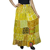 Women Patchwork Skirt Vintage Gypsy Yellow Rayon A-Line Skirts S/M