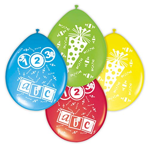 8 Luftballons erster Schultag farblich sortiert