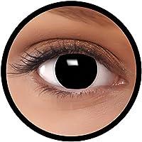 """FXEYEZ® Farbige Kontaktlinsen schwarz""""Hexe"""" + Linsenbehälter, weich, ohne Stärke 0.00 als 2er Pack - angenehm zu tragen und perfekt zu Halloween, Karneval, Fasching oder Fasnacht"""