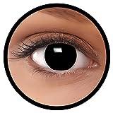 FXEYEZ® Farbige Kontaktlinsen schwarz Hexe + Linsenbehälter, weich, ohne Stärke 0.00 als 2er Pack - angenehm zu tragen und perfekt zu Halloween, Karneval, Fasching oder Fasnacht