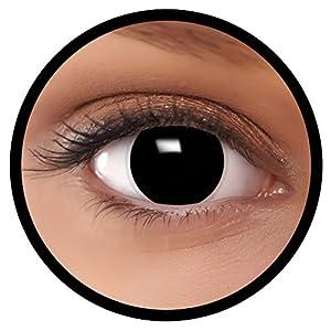 FXEYEZ® Farbige Kontaktlinsen schwarz Hexe + Linsenbehälter, weich, ohne Stärke als 2er Pack – angenehm zu tragen und perfekt zu Halloween, Karneval, Fasching oder Fasnacht