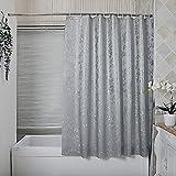 HM&DX Wasserdichter duschvorhang mit Ringe, Antischimmel Eva Badvorhänge Jacquard für Bad Hotel -Grau 240x180cm(94x71inch)
