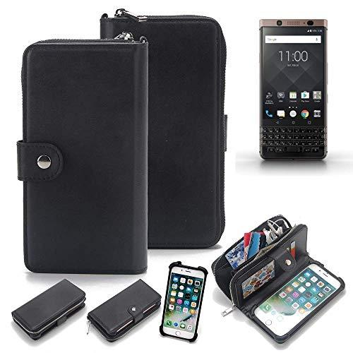 K-S-Trade 2in1 Handyhülle für BlackBerry KEYone Bronze Edition Schutzhülle & Portemonnee Schutzhülle Tasche Handytasche Case Etui Geldbörse Wallet Bookstyle Hülle schwarz (1x)