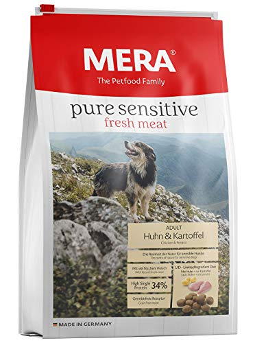 MERA pure sensitive fresh meat Adult Huhn und Kartoffel Hundefutter - Trockenfutter für Hunde mit einer Rezeptur ohne Getreide und 40% Frischfleisch (Huhn Hundefutter)