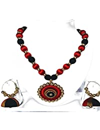 AC Red & Black Silk Thread Necklace Set For Women