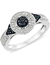 J FRANCIS Women Platinum Plated 925 Sterling Silver Made with Swarovski® Zirconia Cocktail Ring Size Q Xt2Lo