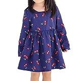 HATCHMATIC Sommer 2019 netten Mädchen-Vertuschung-Strand-Kleid Kleinkind-Baumwoll Kirsche gedrucktes Kleid für Mädchen-voller Hülsen-Prinzessin-Strand-Kleid: Blau, XL
