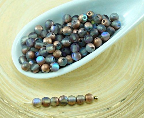 100pcs Matte Cristallo Arcobaleno di Rame Rotondo ceca Perle di Vetro di Piccolo Distanziale di Nozze 3mm