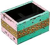 purpledip Schreibtisch Organizer für Stifte, Handy, Besuch Karten für Büro Tisch: weißgewaschenes Finish Rustikal Holz Fall mit Messing Blatt Mustern (10743)