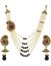 Styylo Jewels Exclusive Designer Party Wear Daily Wear Office Wear Wedding Wear Golden Purple Necklace Set Girls...