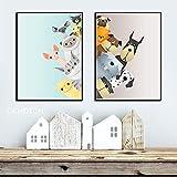 JNZART Nordischen Stil Cartoon Poster Schöne Tiere Leinwand Malerei Kinderzimmer Dekoration Wandkunst Bilder für Nursey Kein Rahmen 40x50cm C