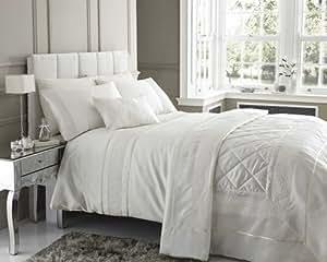Homespace Direct Parure de lit pour lit double détails en dentelle Ivoire et crème