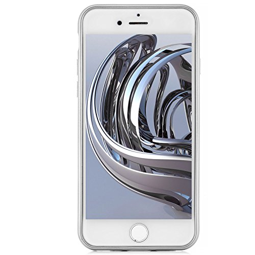 Custodia iPhone 8 / iPhone 7 Cover + Vetro Temperato Completa Silicone Piena Copertura [zanasta] Case Flessibile, Ultra Sottile Premio Flessibile e Durevole Structure Carbonio Design   Argento Argento