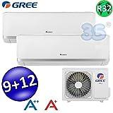 Climatizzatore inverter dual split BORA 9000 + 12000 Btu (U.E.14) GREE R32 classe A++/A+