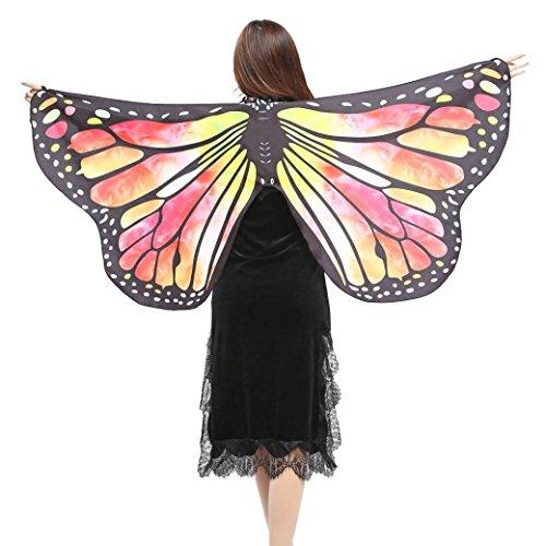 Schmetterlings Flügel Schals, VEMOW Frauen 147*70CM Mehrfarbig Shawl Weiches Gewebe Fee Damen Nymph Pixie Tanzperformance Halloween Cosplay Weihnachten Cosplay Kostüm Zusatz (Indische Hippie Kostüm)
