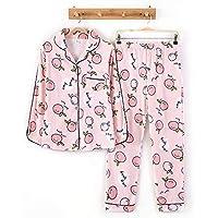 DUKUNKUN Cute Print Home Wear Pijamas Conjunto De Algodón De Manga Larga Pantalones Elásticos De La Cintura-L