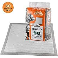 Simply Natural Pack de 50 Almohadillas de Entrenamiento 50 Almohadillas de Entrenamiento para Cachorros Súper Absorbentes de 60x60cm Que Absorben hasta 2 litros de Líquido
