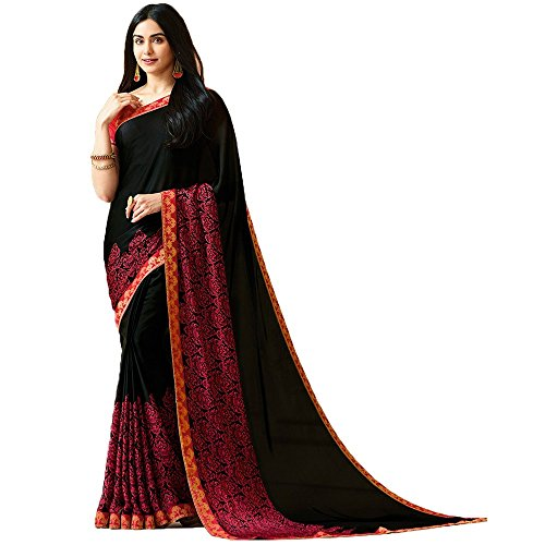Calendar Women's Georgette Red & Black Color New Fashion(2018) Saree With Unstitch...
